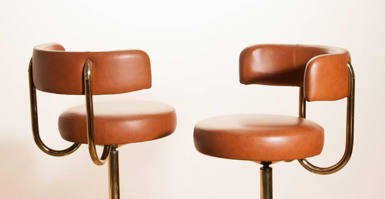 1970s, a Brass Set of Bar Stools and Bar Table by Börje Johanson For Sale 1