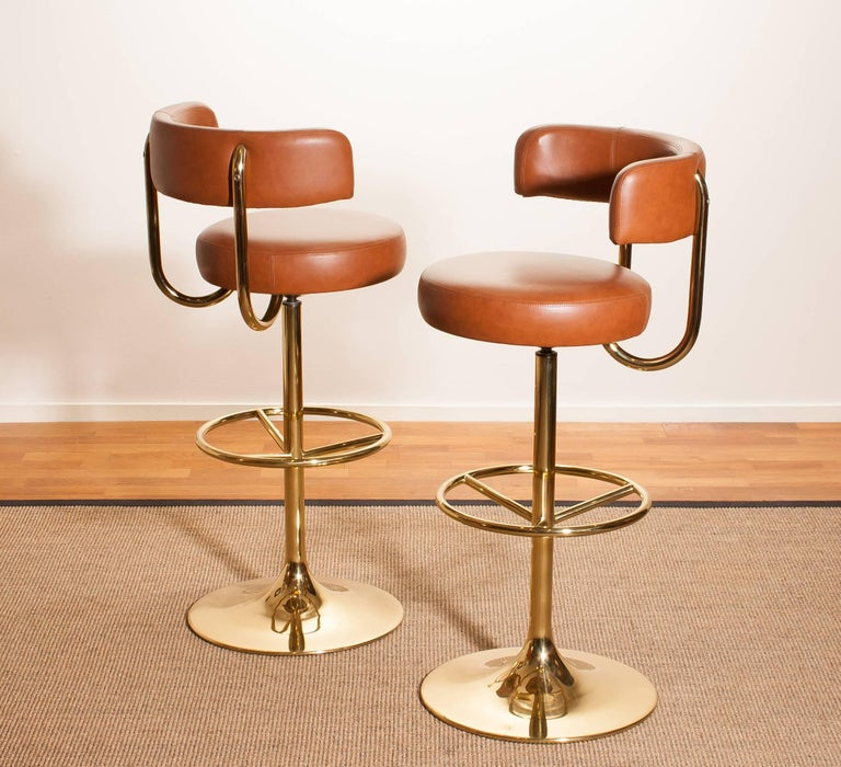 Faux Leather 1970s, a Brass Set of Bar Stools and Bar Table by Börje Johanson For Sale