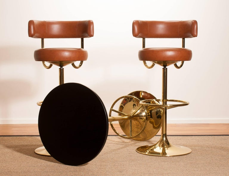 Swedish 1970s, a Brass Set of Bar Stools and Bar Table by Börje Johanson For Sale