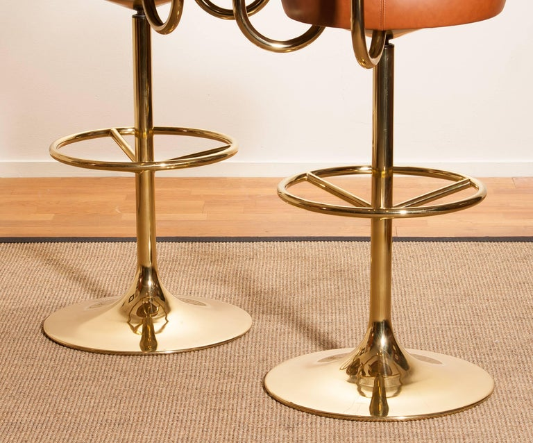 1970s, a Brass Set of Bar Stools and Bar Table by Börje Johanson For Sale 3