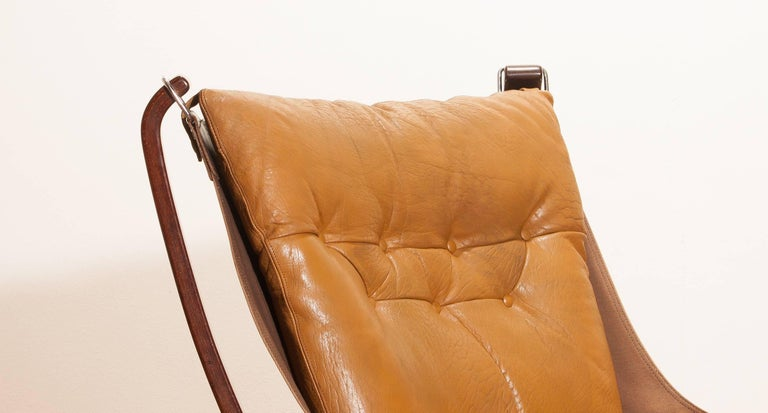 1970s, Camel Leather 'Falcon' Lounge or Armchair by Sigurd Ressell For Sale 1