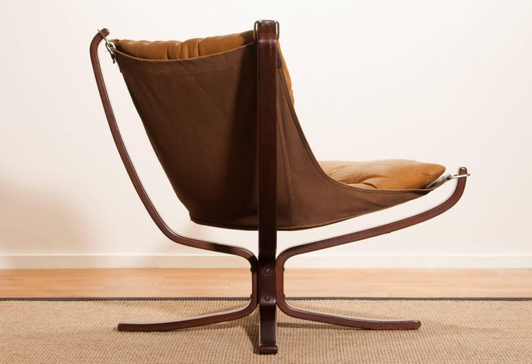1970s, Camel Leather 'Falcon' Lounge or Armchair by Sigurd Ressell For Sale 5