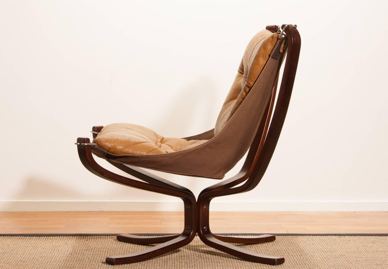 1970s, Camel Leather 'Falcon' Lounge or Armchair by Sigurd Ressell For Sale 3