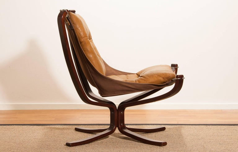 1970s, Camel Leather 'Falcon' Lounge or Armchair by Sigurd Ressell For Sale 2