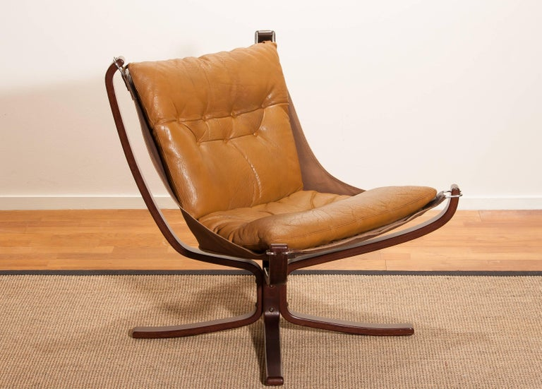 Late 20th Century 1970s, Camel Leather 'Falcon' Lounge or Armchair by Sigurd Ressell For Sale