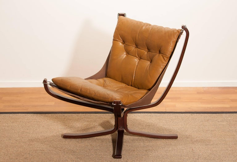 Norwegian 1970s, Camel Leather 'Falcon' Lounge or Armchair by Sigurd Ressell For Sale
