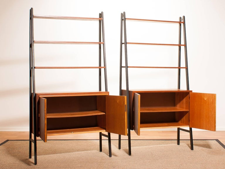 Mid-20th Century 1950s, Two Teak Bookcases Roomdividers Cabinets  For Sale