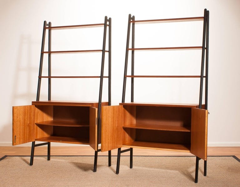 Swedish 1950s, Two Teak Bookcases Roomdividers Cabinets  For Sale