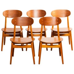 1950s, Teak and Beech Set of Five Dining Chairs Model Eva by Sven Erik Frylund