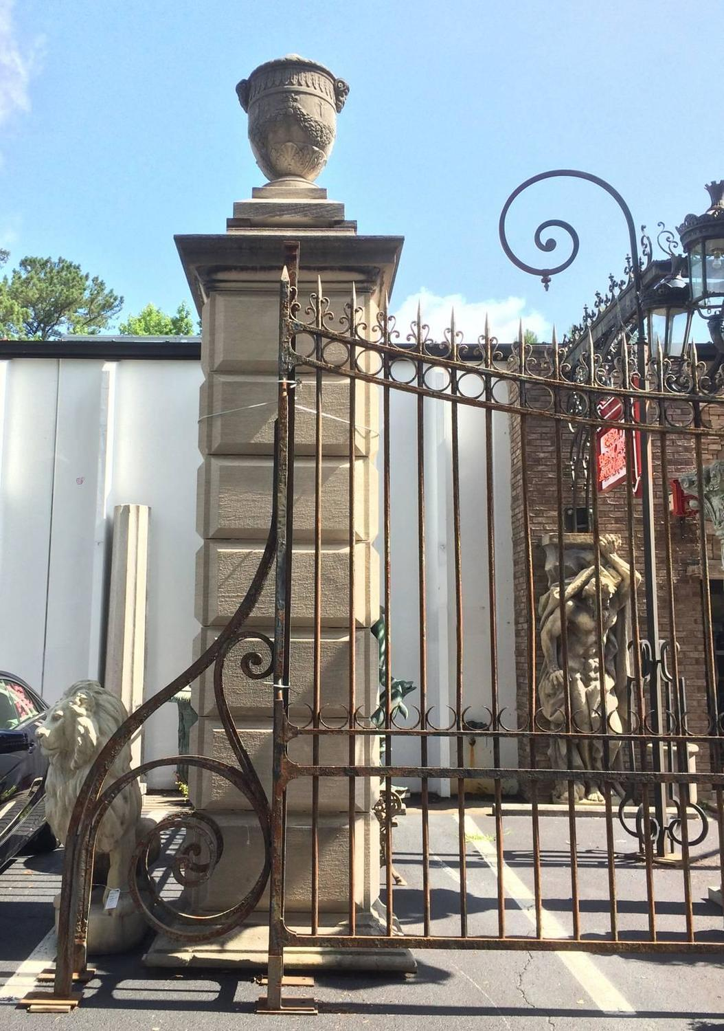 Massive Chateau Wrought Iron And Limestone Entry Gate For