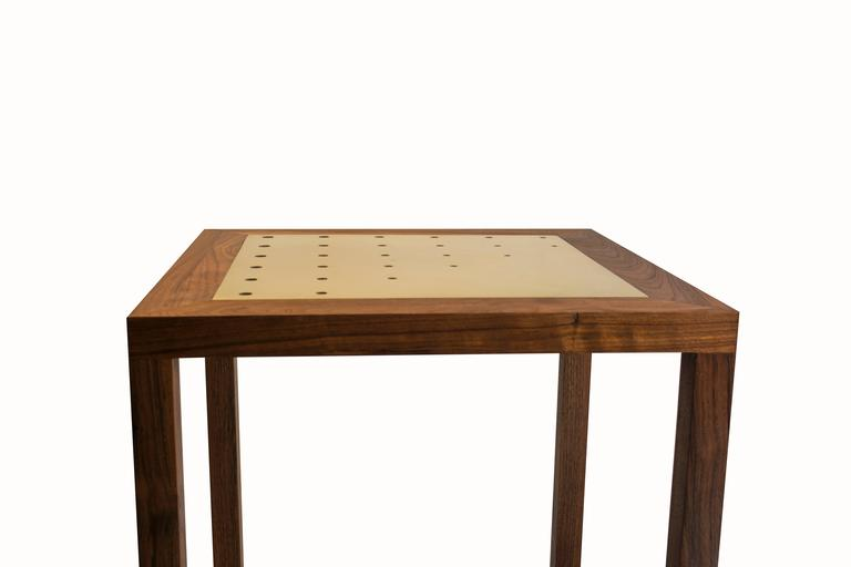 Minimalist Amplitude End Table : walnut and inlaid brass, handmade and built to size  For Sale
