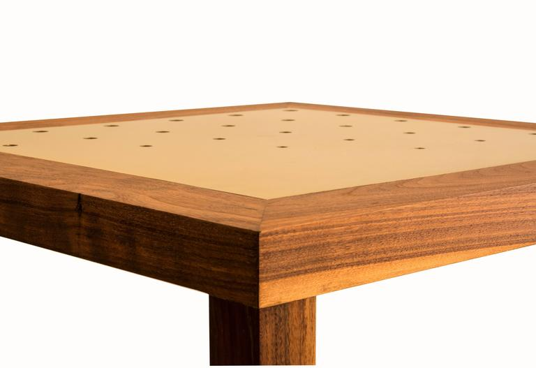 Amplitude End Table : walnut and inlaid brass, handmade and built to size  In New Condition For Sale In Brooklyn, NY