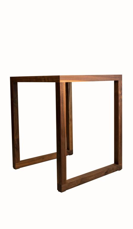 Contemporary Amplitude End Table : walnut and inlaid brass, handmade and built to size  For Sale