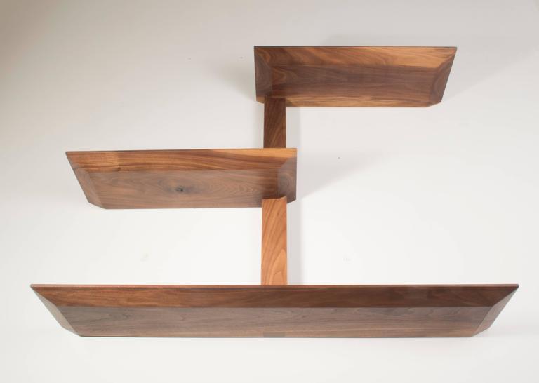 American Elemen Shelves II : american walnut , handmade original design made to order For Sale