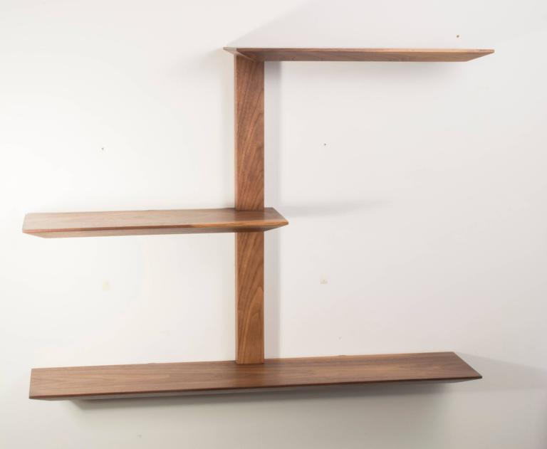 Elemen Shelves II : american walnut , handmade original design made to order In Excellent Condition For Sale In Brooklyn, NY