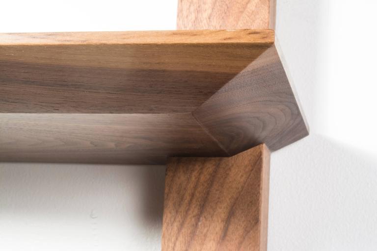Contemporary Elemen Shelves II : american walnut , handmade original design made to order For Sale