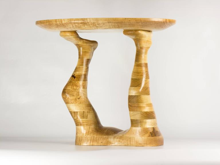 Form hand carved wood sculptural table ambrosia maple