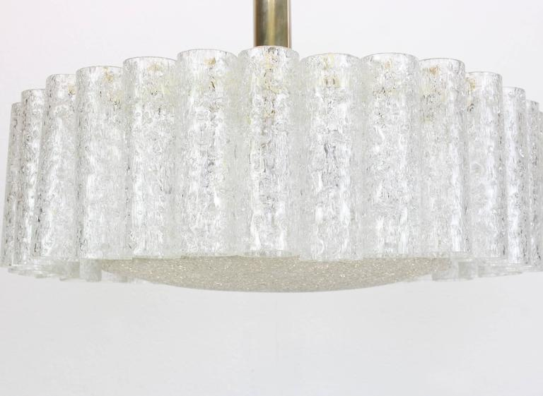 Mid-Century Modern Doria Ice Glass Tubes Chandelier with Brass Surround, Germany, 1960s For Sale