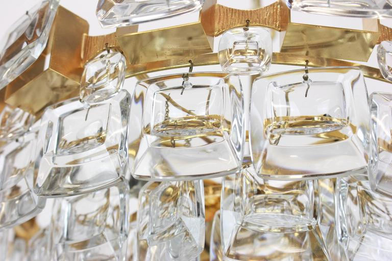 Large Gilt Brass and Crystal Glass Chandelier by Palwa, Germany, 1960s For Sale 2