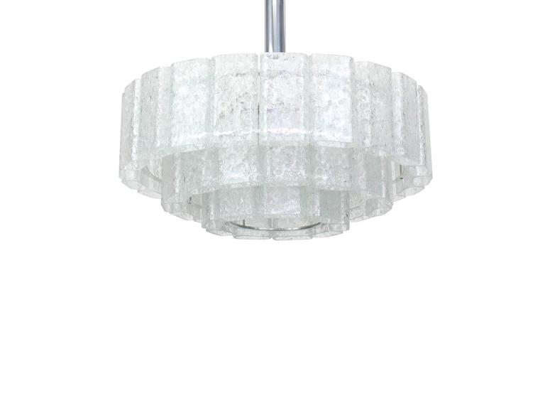 Large Ice Glass Chrome Chandelier by Doria, Germany, 1960s 5