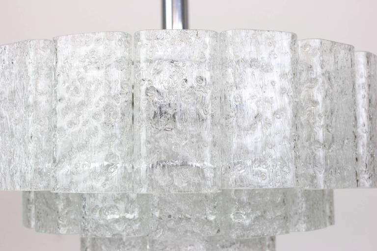 Large Ice Glass Chrome Chandelier by Doria, Germany, 1960s 3