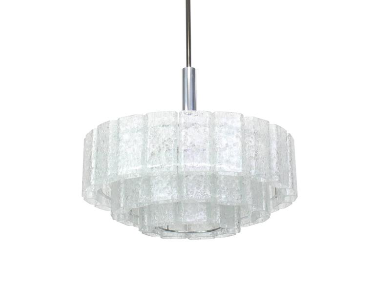 Large Ice Glass Chrome Chandelier by Doria, Germany, 1960s 2