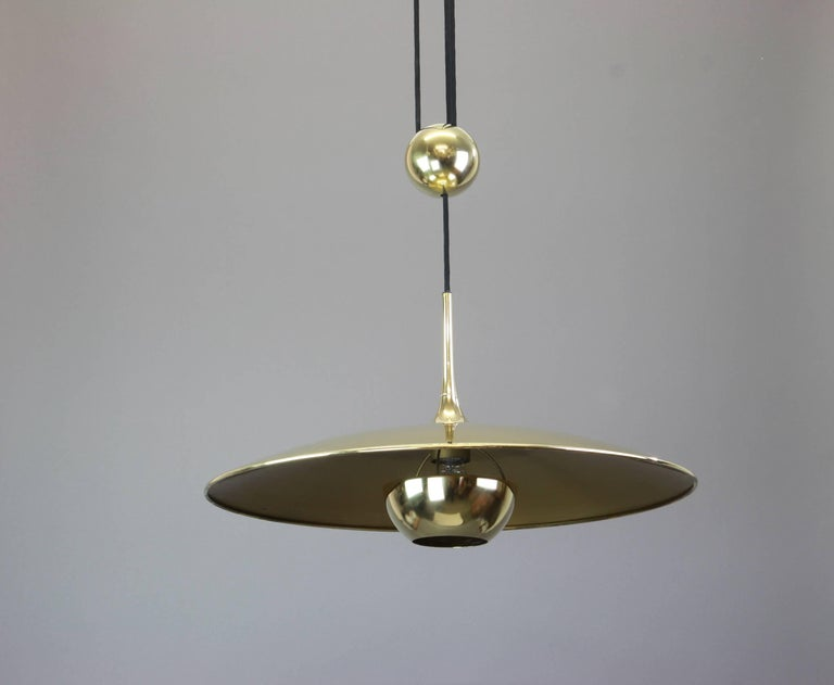 large adjustable brass counterweight pendant light by