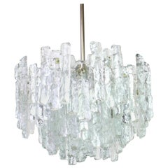 Large Murano Ice Glass Chandelier by Kalmar, Austria, 1960s