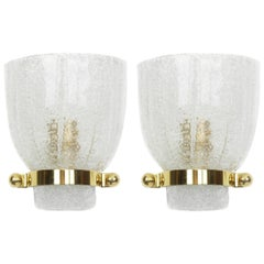 Pair of Midcentury Murano Glass Wall Sconces by Hillebrand, Germany, 1960s
