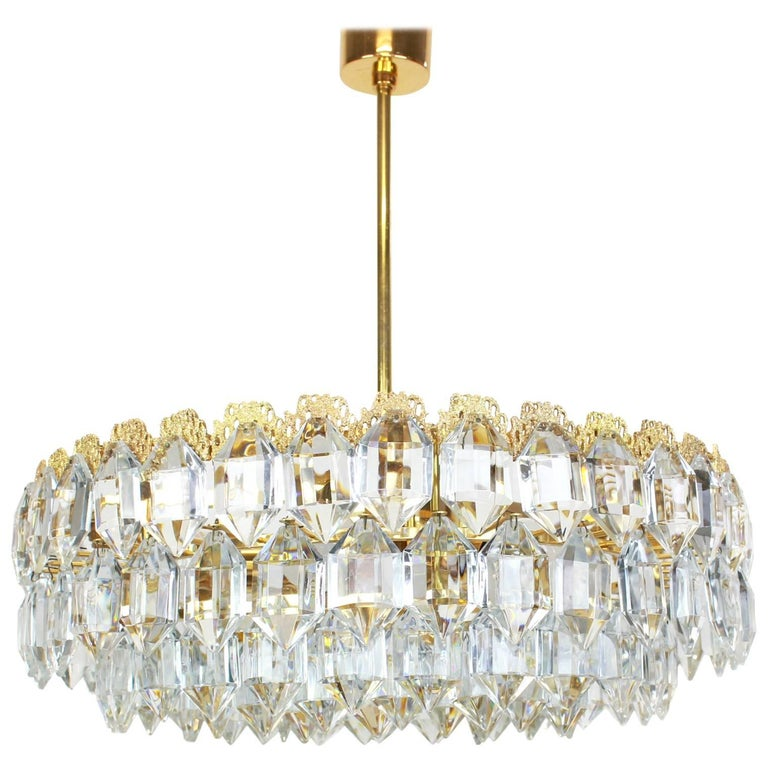 Bakalowits Chandelier, Brutalist Style and Crystal Glass, Austria, 1960s For Sale