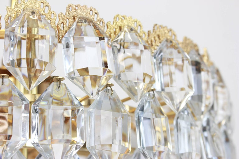Mid-Century Modern Bakalowits Chandelier, Brutalist Style and Crystal Glass, Austria, 1960s For Sale
