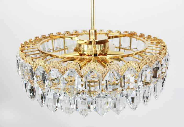 Austrian Bakalowits Chandelier, Brutalist Style and Crystal Glass, Austria, 1960s For Sale