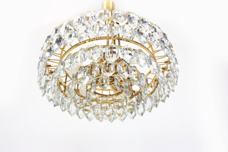 Bakalowits Chandelier, Brutalist Style and Crystal Glass, Austria, 1960s In Excellent Condition For Sale In Aachen, DE