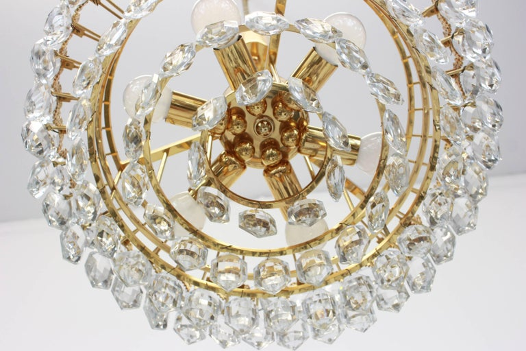 Mid-20th Century Bakalowits Chandelier, Brutalist Style and Crystal Glass, Austria, 1960s For Sale
