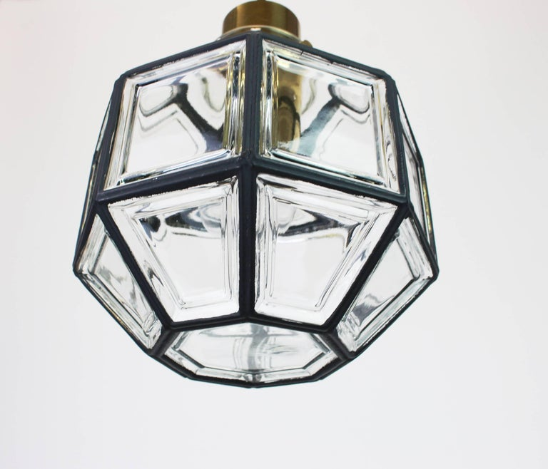 Mid-Century Modern 1 of 2 Iron and Clear Glass Pendant Lights by Limburg, Germany, 1960s For Sale