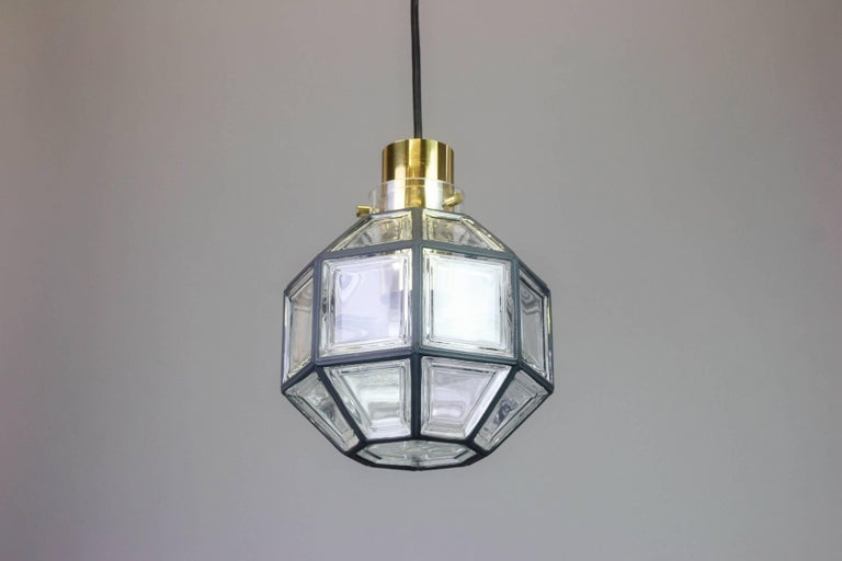 1 of 2 Iron and Clear Glass Pendant Lights by Limburg, Germany, 1960s In Good Condition For Sale In Aachen, DE