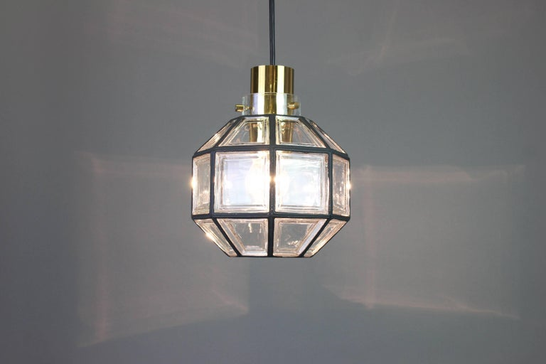 Mid-20th Century 1 of 2 Iron and Clear Glass Pendant Lights by Limburg, Germany, 1960s For Sale