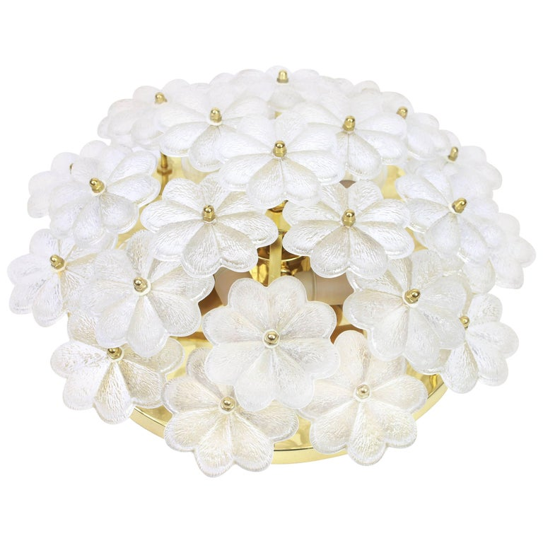 1 of 2 Stunning Murano Glass Flower Wall Light by Ernst Palme, Germany, 1970s