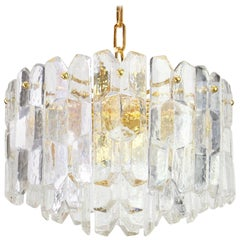 1 of 2 Stunning Gilt Brass, Crystal Light Fixture Palazzo, Kalmar, Austria, 1970