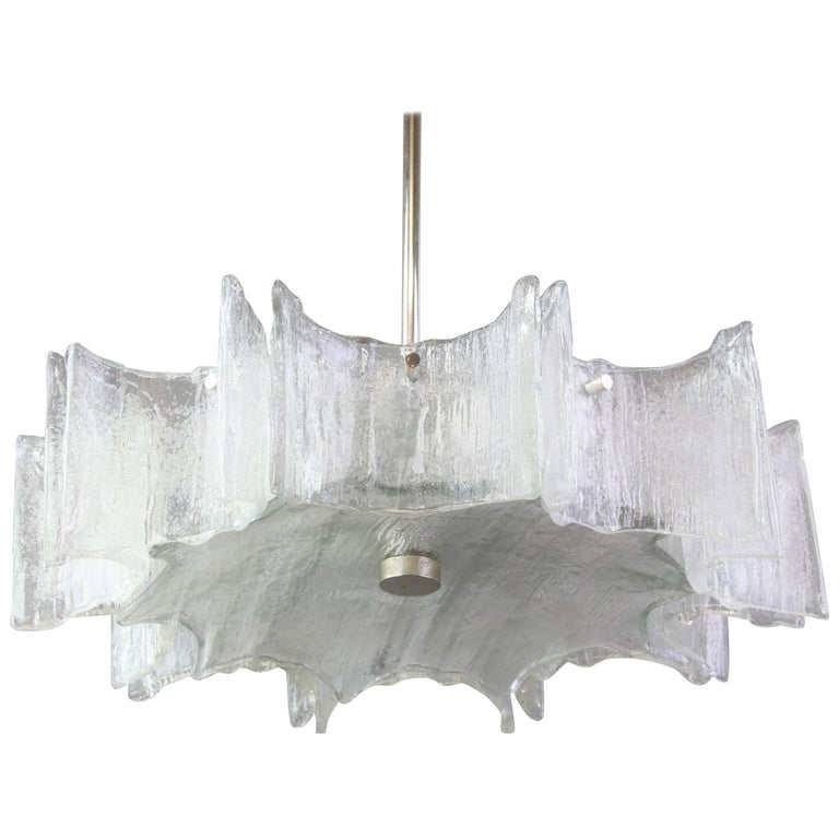 Large Ice Glass Chrome Chandelier by Kaiser, Germany, 1960s