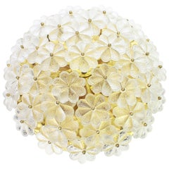 Large Stunning Murano Glass Flower Flush Mount by Ernst Palme, Germany, 1970s