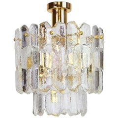 Stunning Gilt Brass, Crystal Glass Light Fixture Palazzo, Kalmar, Austria, 1970s