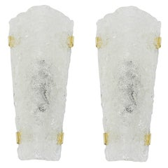 Pair of Large Angular Ice Glass Sconces by Hillebrand, Germany, 1960s