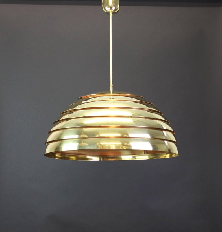 Late 20th Century Large Brass Dome Pendant Light by Florian Schulz, Germany For Sale