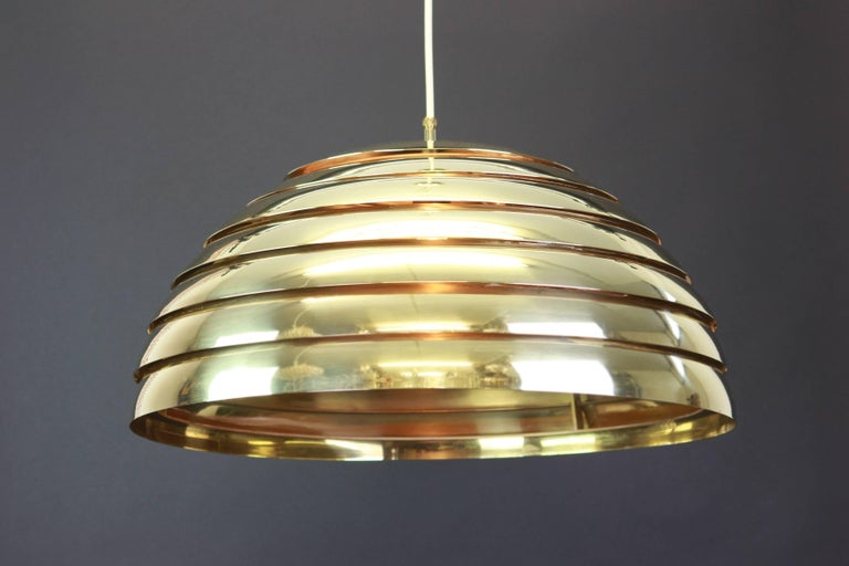 Large Brass Dome Pendant Light by Florian Schulz, Germany For Sale 1