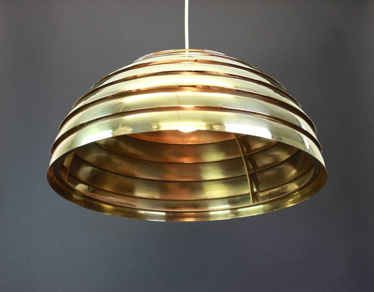Large Brass Dome Pendant Light by Florian Schulz, Germany For Sale 2