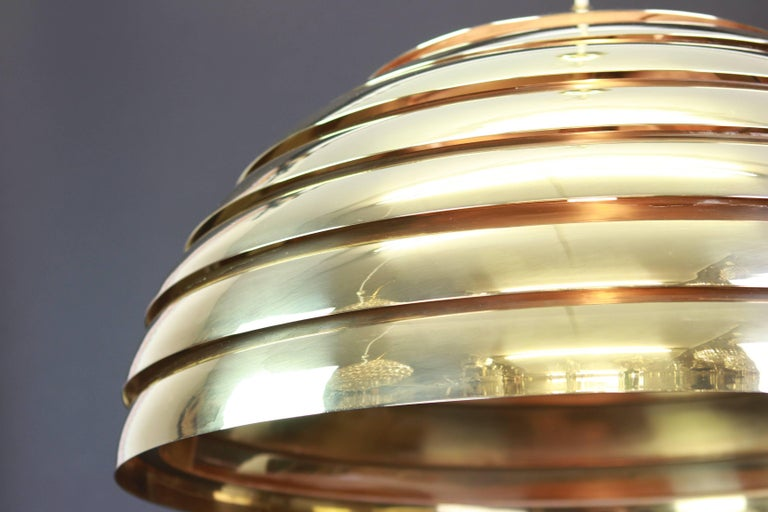 Mid-Century Modern Large Brass Dome Pendant Light by Florian Schulz, Germany For Sale