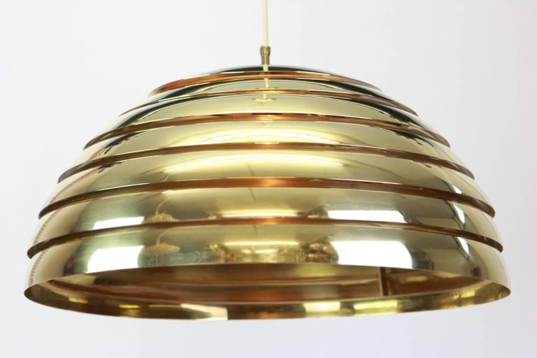 Large Brass Dome Pendant Light by Florian Schulz, Germany In Good Condition For Sale In Aachen, DE