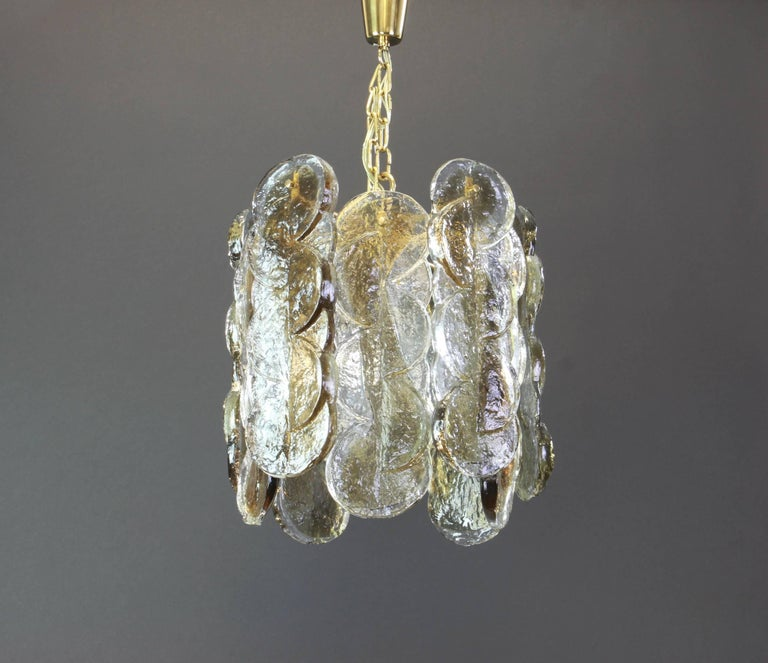 Mid-Century Modern Murano Smoked Glass Pendant Light by Kalmar, Austria, 1970s For Sale