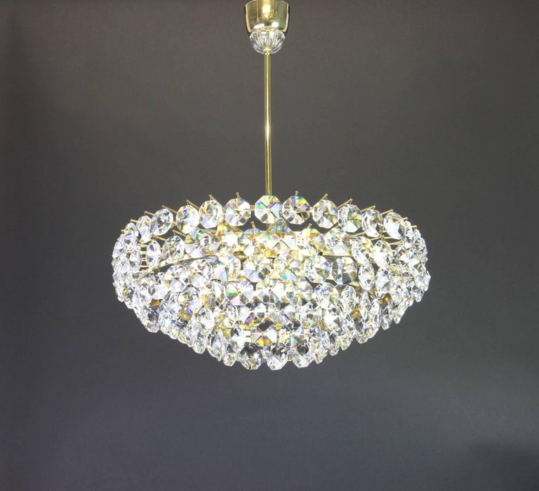 Mid-20th Century Bakalowits Chandelier, Brass and Crystal Glass, Austria, 1960s For Sale